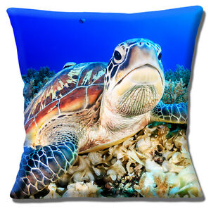 Turtle Cushion Cover Tropical Coral Sea Photo 16 inch 40 cm Square Blue