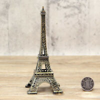 15cm Vintage Alloy Bronze Tone Paris Eiffel Tower Figurines Statue Model Decor