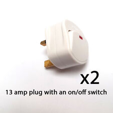 Mains Plug Top with switch on/off 13A Amp Fused switched neon light white x 2