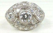 Antique Art Deco Vintage Diamond Engagement Platinum Ring Size 5.75 UK-L EGL USA
