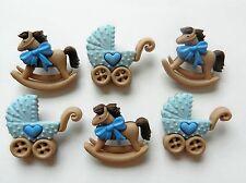 Rocking Horse & Buggy En Azul ~ Conjunto De Vestido, Artesanales, Botones Nuevo