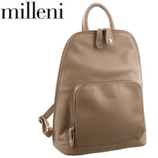 Milleni NL10767 Nappa Leather Twin Zip Backpack - Taupe