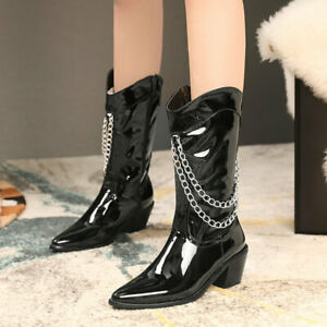 Fashion Mid Calf Boots Women's Punk Pointy Toes Chain Patent Leather Block Heels