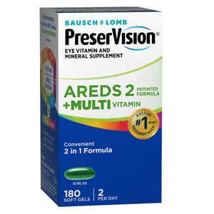 PreserVision Eye AREDS2 Formula+Multivitamin Macular Health 2-in-1 180 Soft Gels