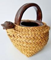 Chinese Dark Brown Glazed Tea Pot Frog Spout and Woven Wicker Case Circa 1900