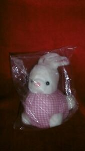 DOUDOU PELUCHE LAPIN PAMPERS 16/23 cm BLANC VICHY ROSE NEUF