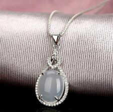 Noble Jewel Oval Shaped White Chalcedony 925 Sterling Silver Pendant Necklace