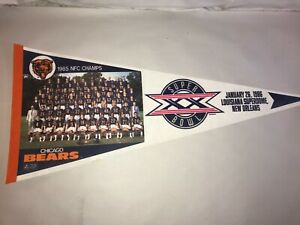 "Vintage Chicago Bears Super Bowl XX 1985 1986 RETRO Felt Full Size 30"" Pennant"