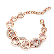 Fashion Clear White Austria Crystal Rhinestone Rose Gold Plated Circle Bracelet