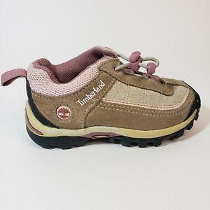 Timberland Girls Toddler Hiking Shoes Size 6 Taupe Pink Adjustable
