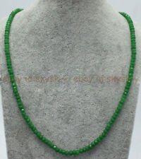 Genuine Top Natural 2x4mm Green Jade Faceted Gems Beads Necklace 18'' AAA