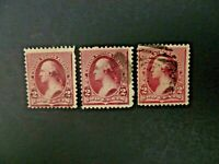 USA 1890 Lot of 3 $.02 Washington #219D Used - See Description & Images