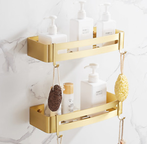 Space Aluminum Wall Mounted Shower Caddy Storage Shelf Brushed Gold For Bath