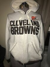 CLEVELAND BROWNS Hooded Jacket Sherpa Lined Women's MEDIUM Grey Sewn Logo
