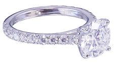 14K White Gold Round Moissanite Diamond Engagement Ring Bridal Prong Set 1.50ctw