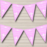 Cross Holy Communion Pink And White Christening Baptism Bunting Banner
