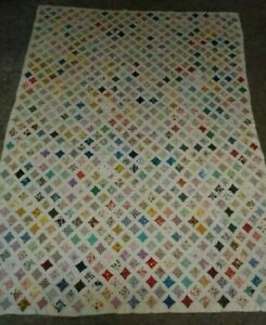 """Vintage Handmade Cathedral Window Quilt 96"""" x 76""""  Hand Stitched in the 1950's"""