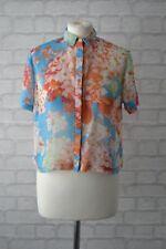 Topshop Blue Floral Sheer Short Shirt Size 8