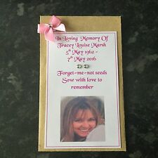 """50 X Personalised """"forget-me-not"""" seeds Funeral condolence memorial with photo"""