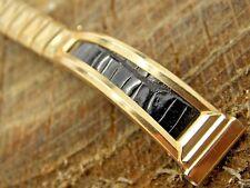 Unused NOS Vintage Gold Filled & Lizard Watch Band 11mm Bracelet Flex-Let