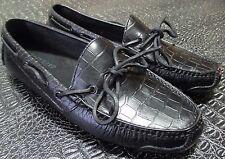 New Cole Haan Men's Black Snake Embossed Driving Mocassin Penny Loafer Shoe 7.5