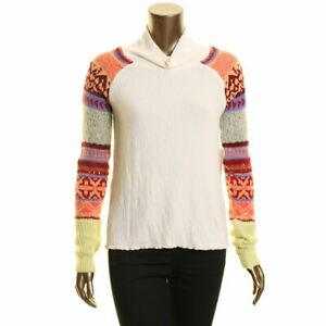 FREE PEOPLE NEW Women's Prism Mixed Knit Sleeve Cowl Neck Sweater Top TEDO