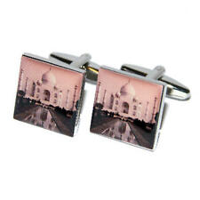 Silver Cufflinks With Taj Mahal Picture & Gift Pouch Indian India Travel New