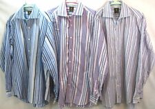 LOT OF 3 TAILORBYRD MENS SZ XL COLORFUL STRIPED BUTTON FRONT CASUAL DRESS SHIRTS