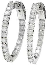 1.95Ct Natural Diamond 14K Solid White Gold Hoop Earrings