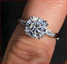 2 Ct Near White Moissanite With CZ Baguette Engagement Ring Solid 14K White Gold