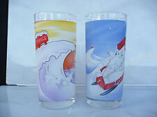 2pcs Coca Cola glasses Polar bears 2001 rare used for collection Coke cool surf