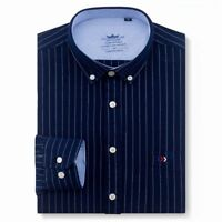 Shirts Men's Striped Clothing Casual Formal Wear Square Collar Long Full Sleeves