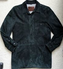 Luciano Barbera mens black suede leather shirt jacket 52/42
