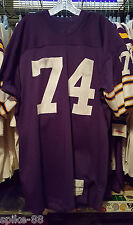 FRANK MYERS #74 MINNESOTA VIKINGS SAND-KNIT HOME PURPLE GAME JERSEY 1970'S SZ 52