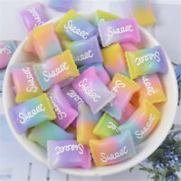 25x15mm Gradient Colours Mixed Glitter Resin Candy Sweets Cabochons Decor 10 pcs