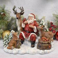 "Santa with Animals Christmas Figurine - Tabletop Christmas Decoration - 8.75"""