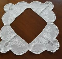 Vintage White Deep Lace Filet Crochet Tablecloth Edge 60cm Roses Mary Card ?