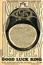 1933 small Print Ad of Jeffrey Good Luck Ring Horseshoe & Swastika Kill The Jinx