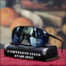Men's Stylish Fashion Large Shield Sports UV Sunglasses Green & Blue Mirrored