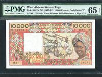 West African States/Togo:P-809Te,10000 Francs,1977-92 * PMG Gem UNC 65 EPQ *