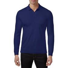 Tasso Elba Mens Navy Long Sleeves Collared Work Wear Polo Shirt L BHFO 5014