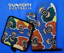 Australian Aboriginal Art Printed Oven Mitt Pot Holder Set Riverside Dreaming
