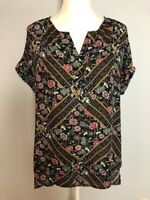 DR2 Womens Tunic Top Blouse Size M Black Red Floral V Neck Short Cuffed Sleeve