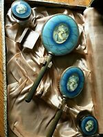 Vintage Blue Victorian Lady Vanity Set in Case Brush Mirror Glass Jars     505