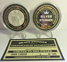 "2015  MOON LANDING 43mm ""S/VER STUNNER"" TOKEN/COIN, C.O.A. 500 Made $50 at Mint"