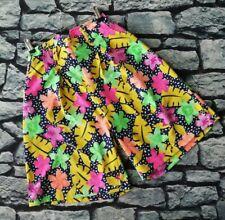 Vintage 80s Neon floral print high waist culotte shorts S M