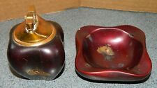 Ceramic Lighter and Ash Tray - Two Piece Set With Japanese Building Imprint