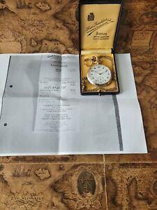 900 Silber Junghans Jubiläums Bergbau-Taschenuhr mit Etui und Kette