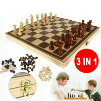 3 in1 Folding Wooden Chess Set Board Game Checkers Backgammon Large Draughts Toy