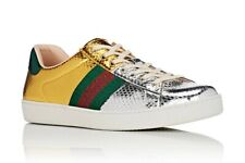Men's Gucci Metallic New Ace Snakeskin Sneakers Gold Silver Red Green 9 G/10 Us